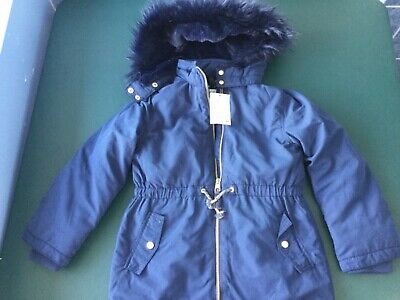 HM brand Navy  girls winter fleece lined jacket size 7-8 years new with tags