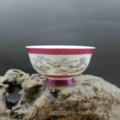 "5.2"" Collection Chinese Colour Porcelain Snow-covered Landscape Kung Fu Tea Bowl"