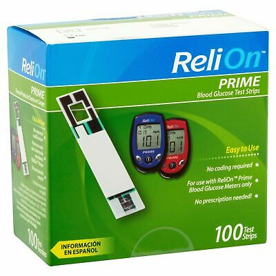 ReliOn Prime Blood Glucose Test Strips 100 Count Exp. 06/2020+