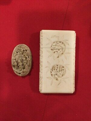 Antique Carved Cantonese Card Case And Oval Plaque