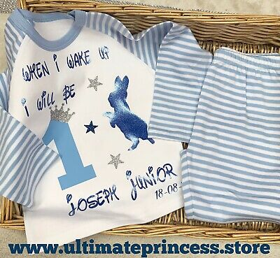 Rabbit When I Wake Up Birthday Personalised  Baby  Boy Girl Pyjamas