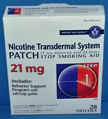 1Box of Step 1 Habitrol Transdermal Nicotine Patches 21mg - 28 patches