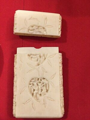 Antique Cantonese Carved Card Case And Miniature Plaque