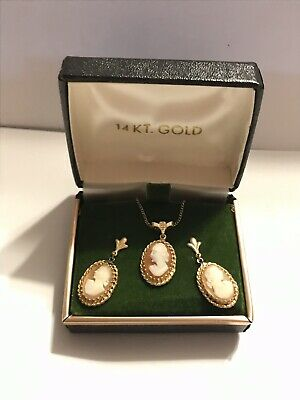 Vintage 14k Gold Cameo Earrings and Pendant Necklace Set in Original Box 6 grams