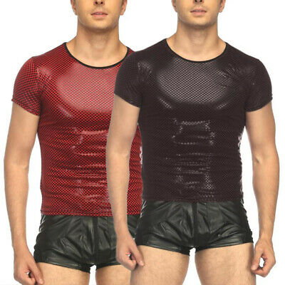 Men Slim PU Leather T-Shirt Tops Plaid Wet Look Party Costumes Night Clubwear