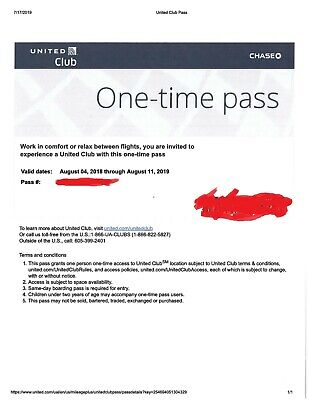 Two United Club One Time Passes - Email Delivery Only - Expires 8/11/2019