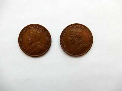 2 Canada One Cent Circulated Coins: George V 1916 & 1917