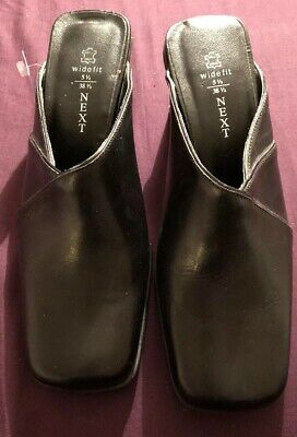 Next mules Bnwt Size 5 1/2 Wide Fit Leather Black