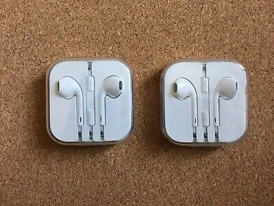 Lot 2 NEW Apple EarPods with Remote and Microphone - White