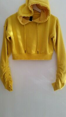 Factorie Ladies Yellow Cropped Hooded Jumper Size XS Excellent Condition