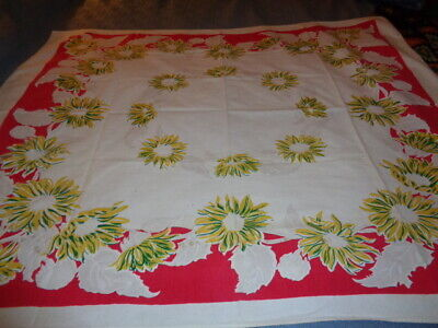 Vintage Red & Yellow Floral Tablecloth