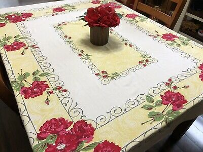 """Vintage Red Pink & Yellow FLORAL Screen Print Fabric Tablecloth 53x62"""" (RF992)"""