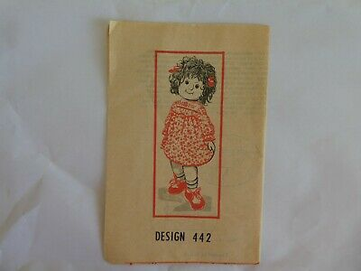 "Cloth doll Sewing pattern for 20"" doll and her clothes vintage craft design 442"