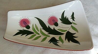 VINTAGE STANGL THISTLE PATTERN FOOTED RELISH TRAY 11.5 Inch VERY GOOD CONDITION