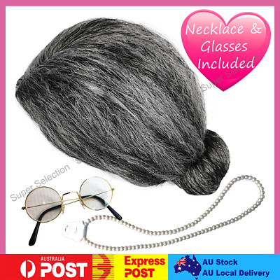 Kids Teen Wig Set Old Lady Granny Funny Party Halloween Girl Costume Accessory