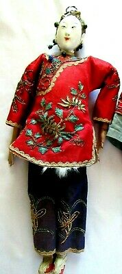 "Antique Chinese Opera Doll GIRL-SIGNED-10.5"",Ornate- c 1920's - 30's"