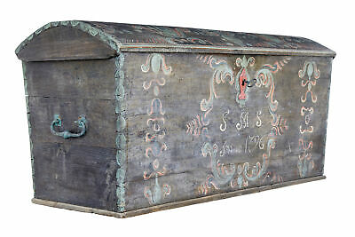 Late 18Th Century Swedish Oak And Hand Painted Dome Top Trunk
