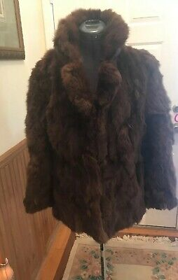 GENUINE RABBIT FUR Women Size M Coat Plush Jacket SOFT