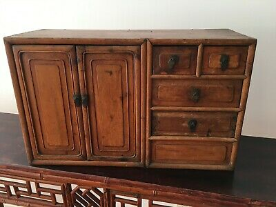 chinese Antique chinese small drawer cabinet in fruitwood Chinoiserie