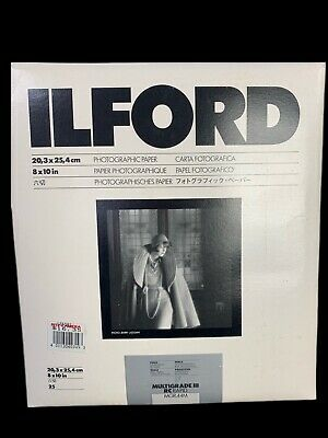 Vintage ILFORD Unopened pack 25 8x10 Photographic Paper Multigrade III RC Deluxe