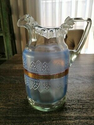 Antique Collectable  Fluted Art Glass Jug Hand Painted Victorian/Edwardian