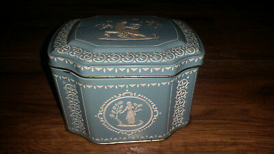 Greek mythology theme embosed tin metal container made in England