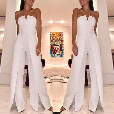 Womens Clubwear Summer Playsuit Bodycon Jumpsuit Dress Split Romper Trousers