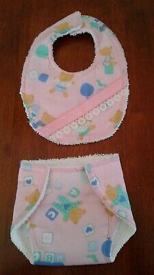 ~*Dolls Clothes*~ Matching Nappy and Bib  Set *Suit Baby Born or similar size.