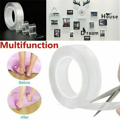 1/3/5M Double-sided Magic Traceless Adhesive Tape Nano Invisible Tape Washable