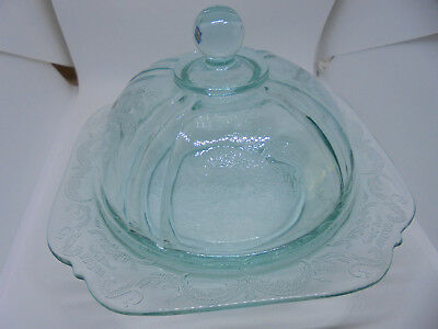 Dome Lid Christmas Holiday Party Cheese/Butter Serving Dish/Bowl Ornate Glass