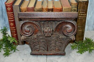 Antique Large Carved Wood Corbel Scrolled Bracket Architectural Salvage Pediment