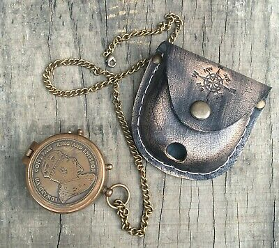 Antique Brass Working Compass With Leather Case Handmade Marine Compass Gift