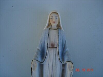 vintage holy  religious statue Mary blue and white stepping on asp snake