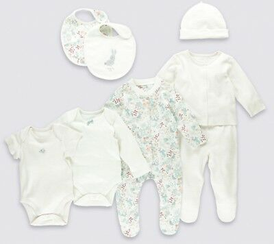 Baby Girls Tiny Baby Outfit Marks & Spencer Pink 8 Peice Gift Hat Babygro Vest