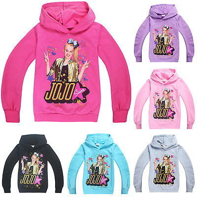 Kids Girls Jojo Siwa Hoodies Long Sleeve Sweatshirts Hooded Pullover Outerwear