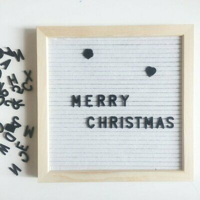 Compact Felt Letter Board Wooden Frame Changeable Symbols Numbers Characters SW