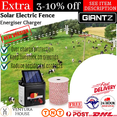Solar Power Electric Fence Charger Farm Fencing Tape Energizer Kit Waterproof AU