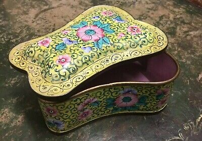 Vintage Chinese Box Canton Enamelled Brass Flowers Yellow Ground Pink Interior