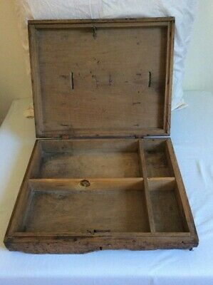 Wooden Box Brass Latch Antique Storage Old Crate Wood handmade