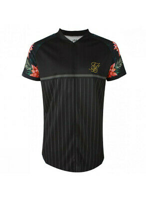 SikSilk Mens Retro Floral T-Shirt Relaxed Black Size M