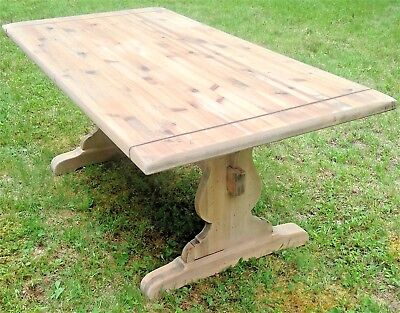 Vintage Ethan Allen Old Tavern Dining Table Refurbished Pine Trestle Distressed
