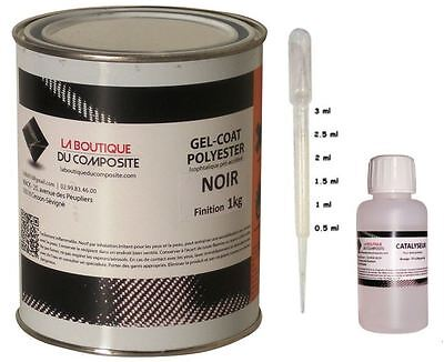 1kg. of Gel Coat Polyester Marine Iso. Black + Catalyst & Pipette Doser Dosing