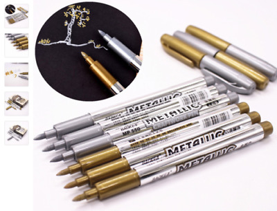 BKC Metallic Permanent Marker Pens Gold & Silver Craft Paper Card Gift Arts
