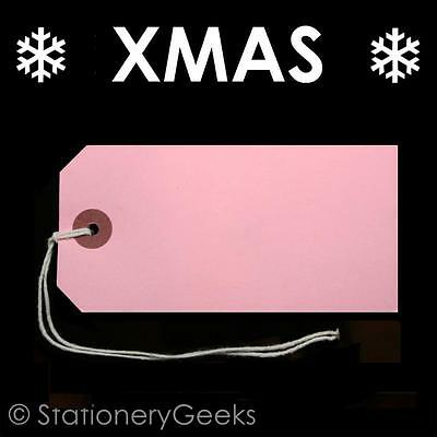 50 White Xmas Present Tags String Tie on Luggage Tag Parcel Price Label 54x29mm