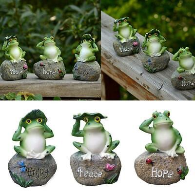 Garden Decor Statue Resin Frogs On The Stone Outdoor Patio Ornaments Yard  New