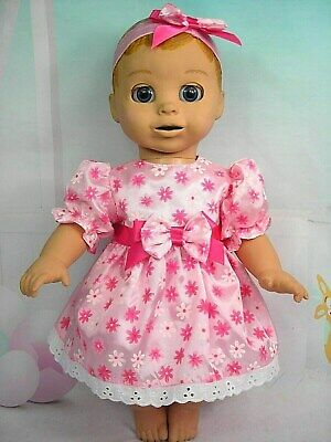 Dolls Clothes For~LUVABELLA DOLL~PINK FLORAL TAFFETA  DRESS~BLOOMERS~HAIRBOW