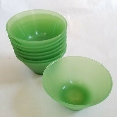 Retro Mid-Century Bowl Green Lucite Acrylic Platic Fruits Salad Bowls Set of 8