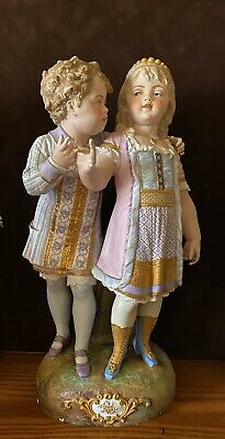 Antique French Paul Duboy Bisque Figurine Of Kids   Being Love Very Rare