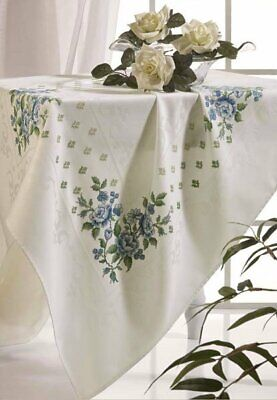 Zweigart Berlin Damask Tablecloth White with 10ct band - embroidery cross stitch