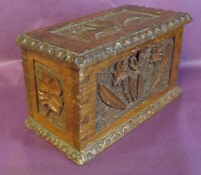 Antique Miniature Carved Oak  Box, French?, Great Detail, Carved Flowers & Acorn